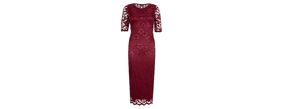 Bordeaux rode kanten jurk
